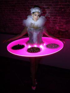 Las Vegas themed party Walking Waitress Table